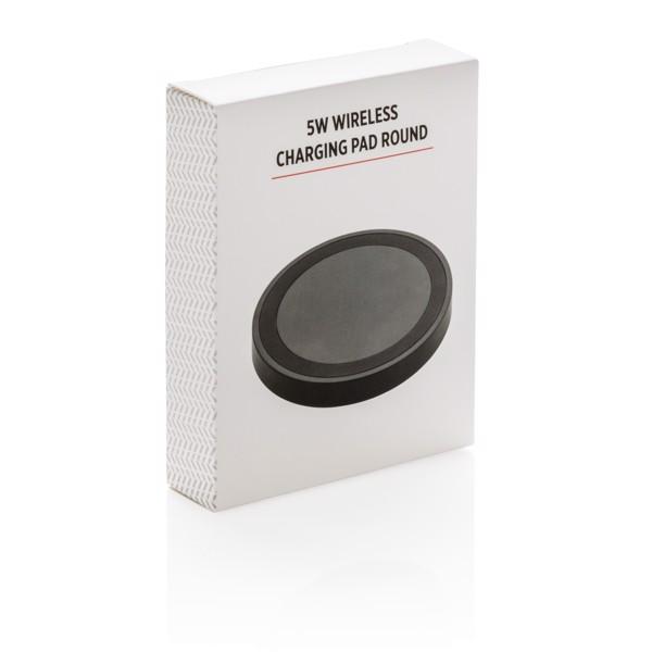 5W-os, kerek vezeték nélküli töltő - Fekete