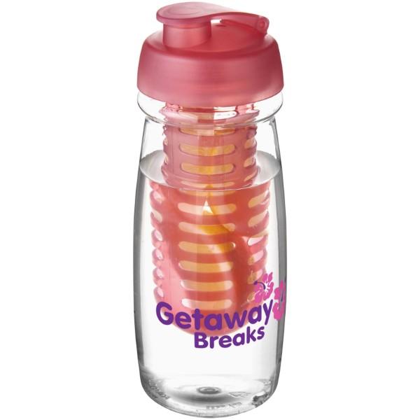 Sportovní láhev s infuzérema vyklápěcím víčkem H2O Pulse® 600 ml - Průhledná / Růžová