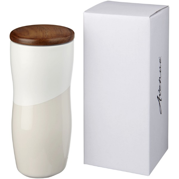 Reno 370 ml double-walled ceramic tumbler - White