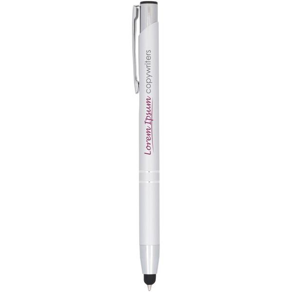 Kuličkové pero Moneta s kovovým úchopem - Stříbrný