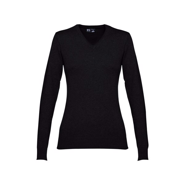 MILAN WOMEN. Dámský svetr s výstřihem do V - Černá / XL