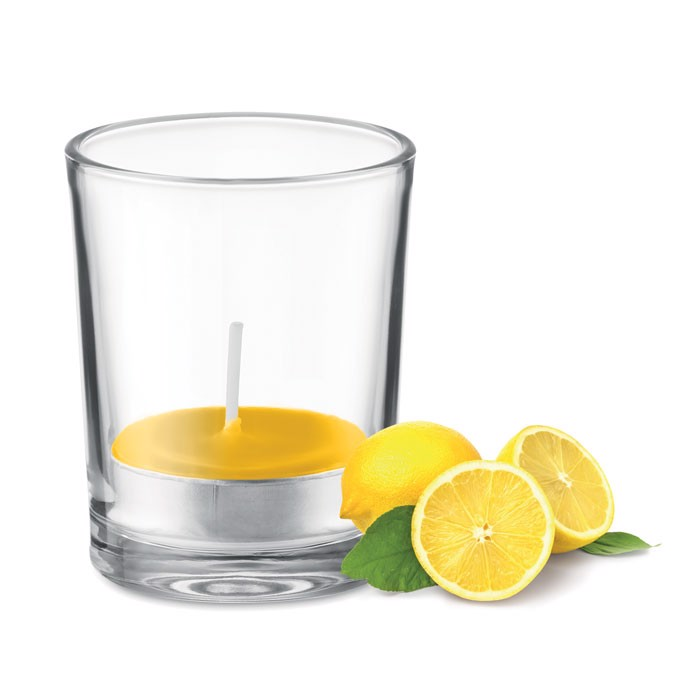 Transparent glass holder candle - Yellow
