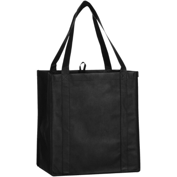 Juno small bottom board non-woven tote bag - Solid black