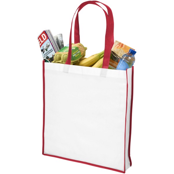 Contrast large non-woven shopping tote bag - White / Red