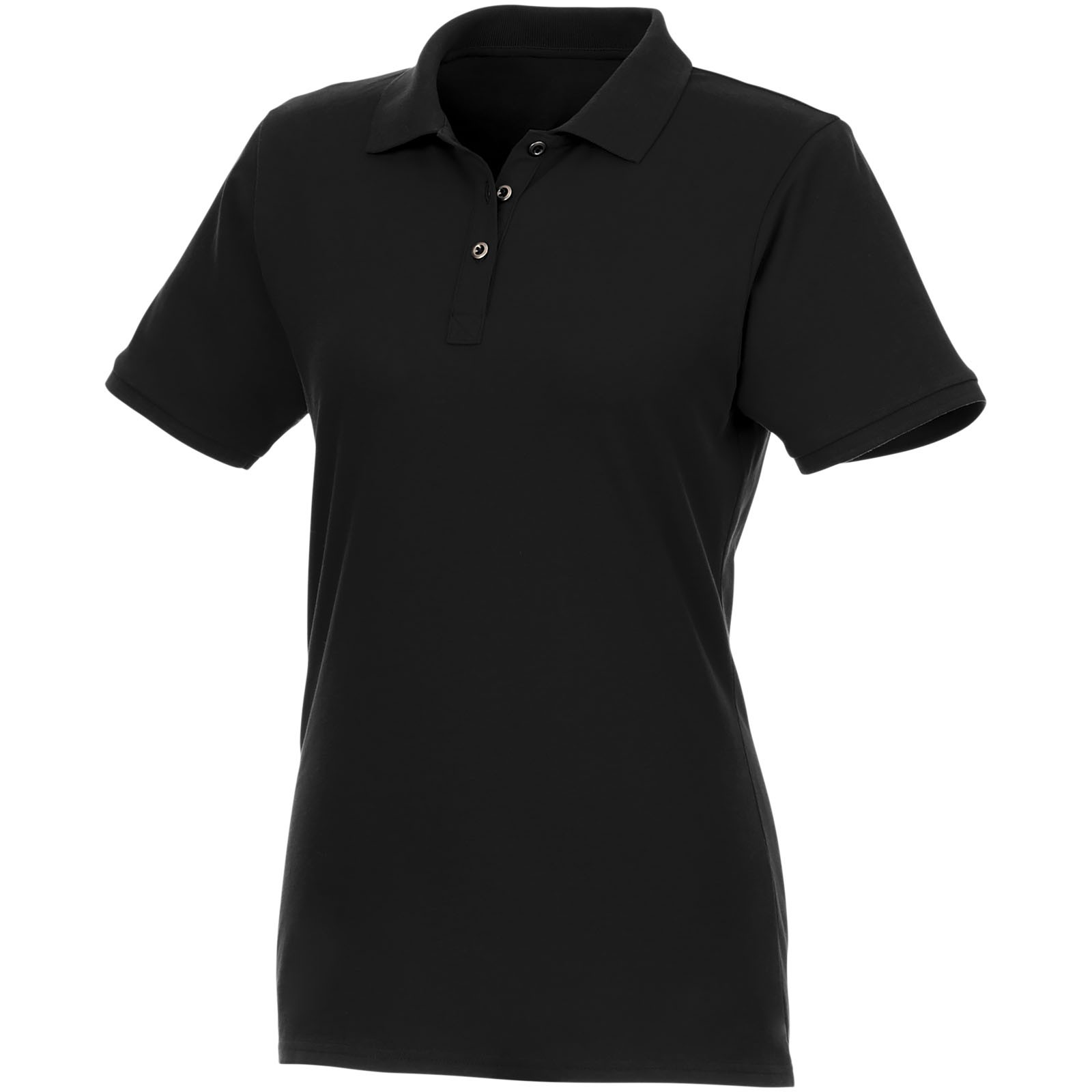 Beryl short sleeve women's GOTS organic GRS recycled polo - Solid black / XXL