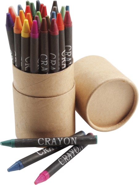 Cardboard tube with crayons