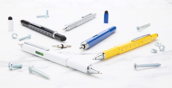 Multifunkční pero 5 v 1 z hliníku - Bílá