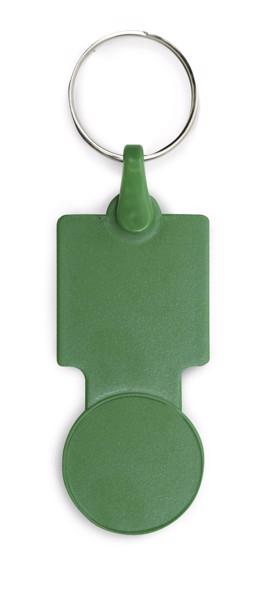 SULLIVAN. Coin-shaped keyring for supermarket trolley - Green