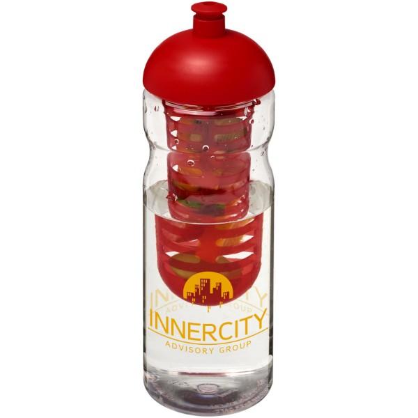 Sportovní láhev s infuzérema kupolovitýmvíčkem H2O Base® 650 ml - Průhledná / Červená s efektem námrazy