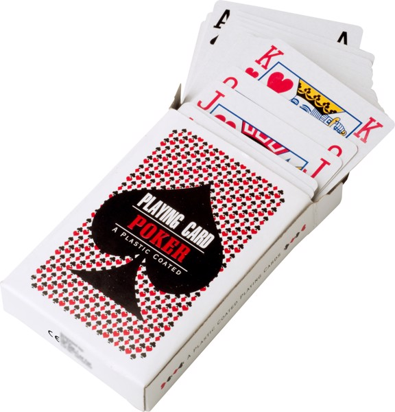 Cardboard box with playing cards