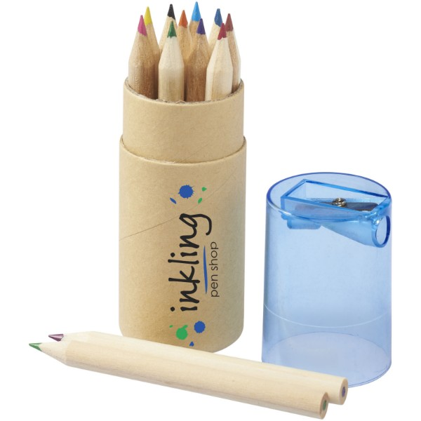 Hef 12-piece coloured pencil set with sharpener - Blue
