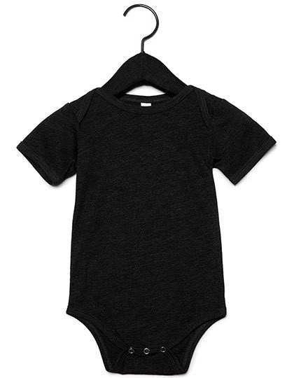 Baby Triblend Short Sleeve Onesie - Charcoal-Black Triblend  / 3-6 months