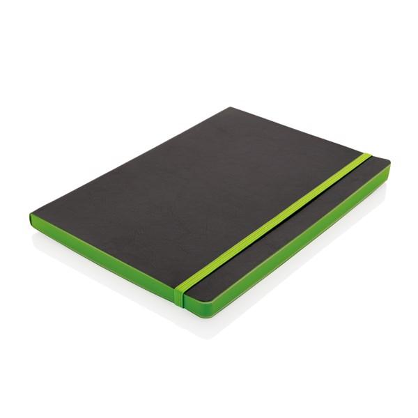 Poznámkový blok s měkkou vazbou a barevnými okraji - Zelená