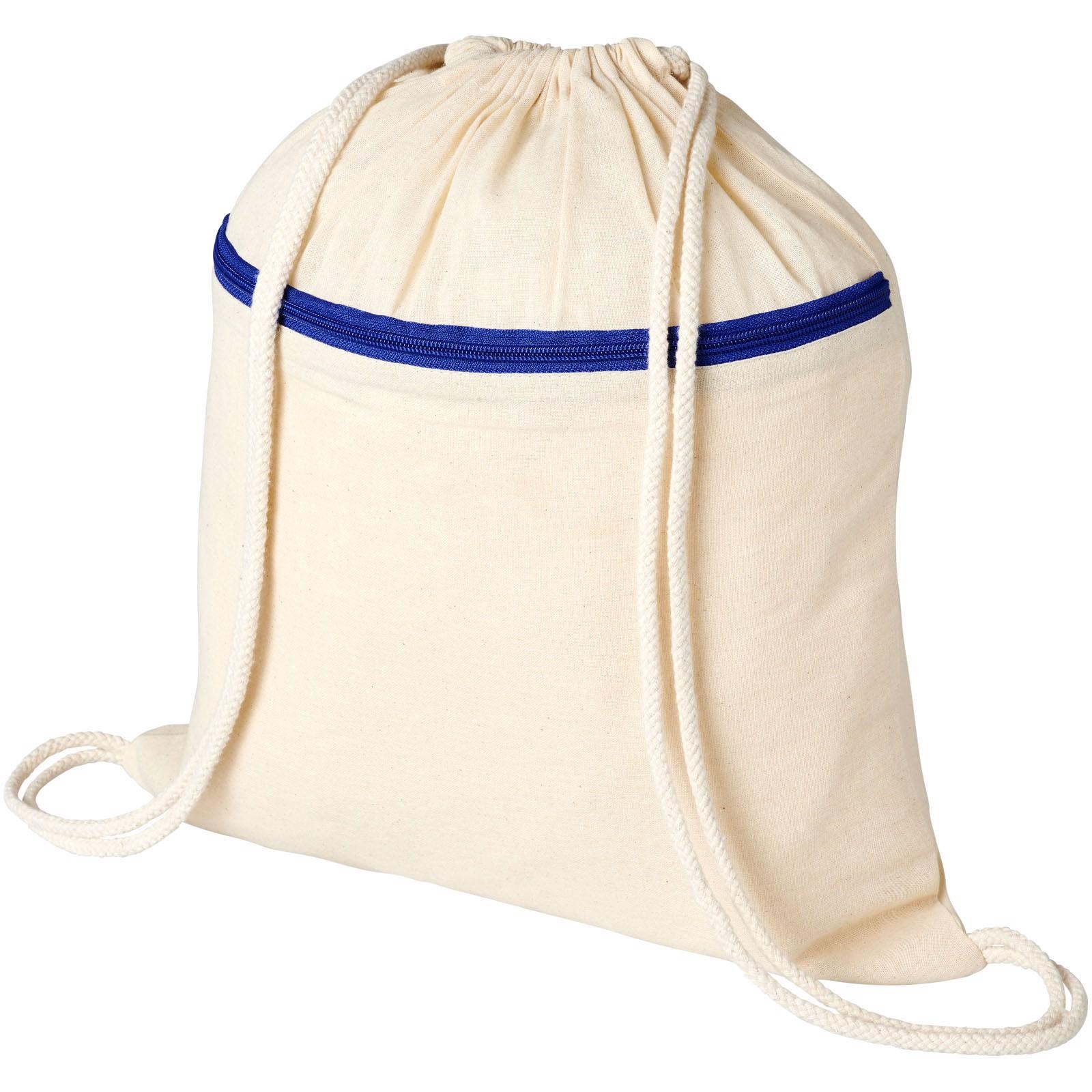 Oregon šňůrkový batoh se zipem - Přírodní / Světle modrá