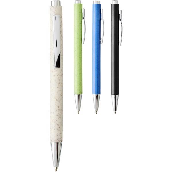 Tual kuličkové pero se stiskacím mechanismem z pšeničné slámy - Černá