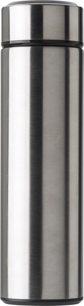 Stainless steel thermos bottle (450 ml) with LED display - Silver