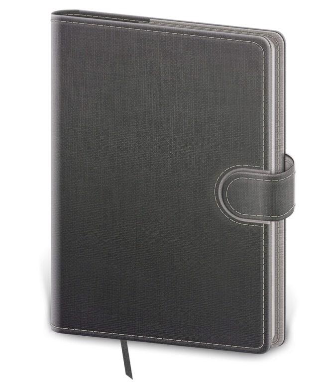 Linkovaný zápisník Flip, M - šedo / šedý