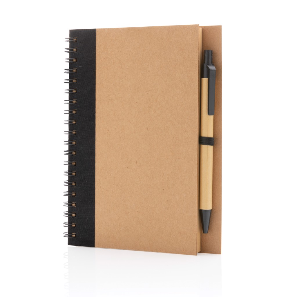 Kraft spiral notebook with pen - Black