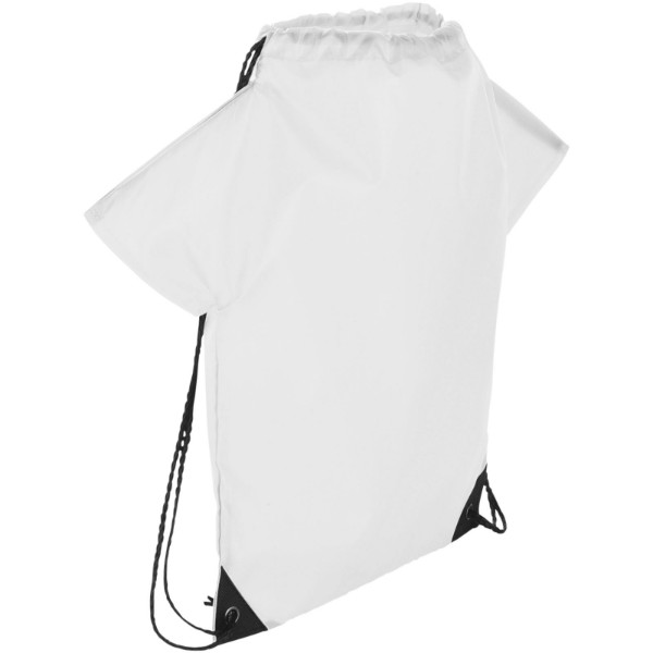 Cheer T-shirt-shaped drawstring backpack - White