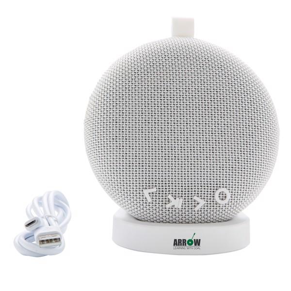Vezeték nélküli töltő és hangszóró USB állvánnyal - Fehér