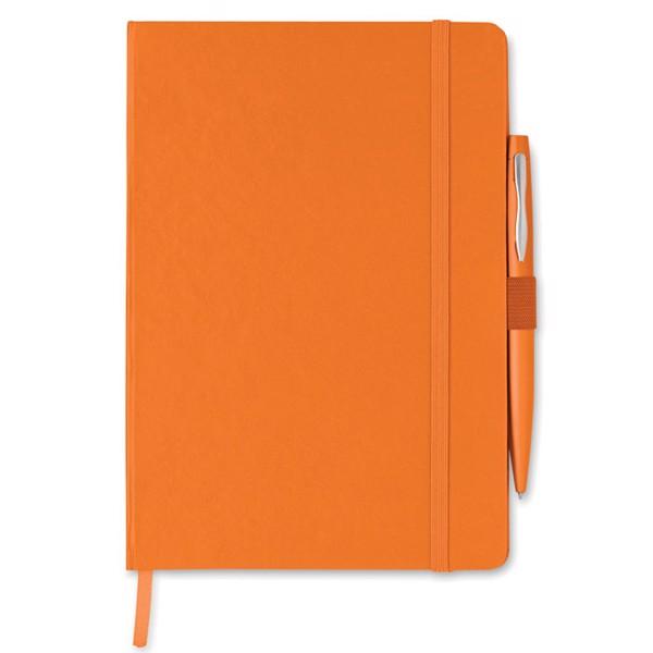 Notes A5 z długopisem Notaplus - pomarańczowy