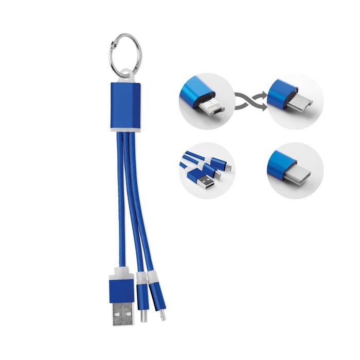 Brelok z kabelkami ładującymi Rizo - niebieski