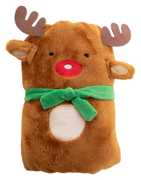 Christmas Polar Blanket Hugger, Reindeer - Brown