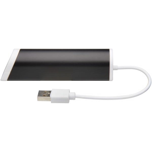 """Hub con 4 puertos USB y soporte de teléfono """"Power"""" - Negro Intenso"""