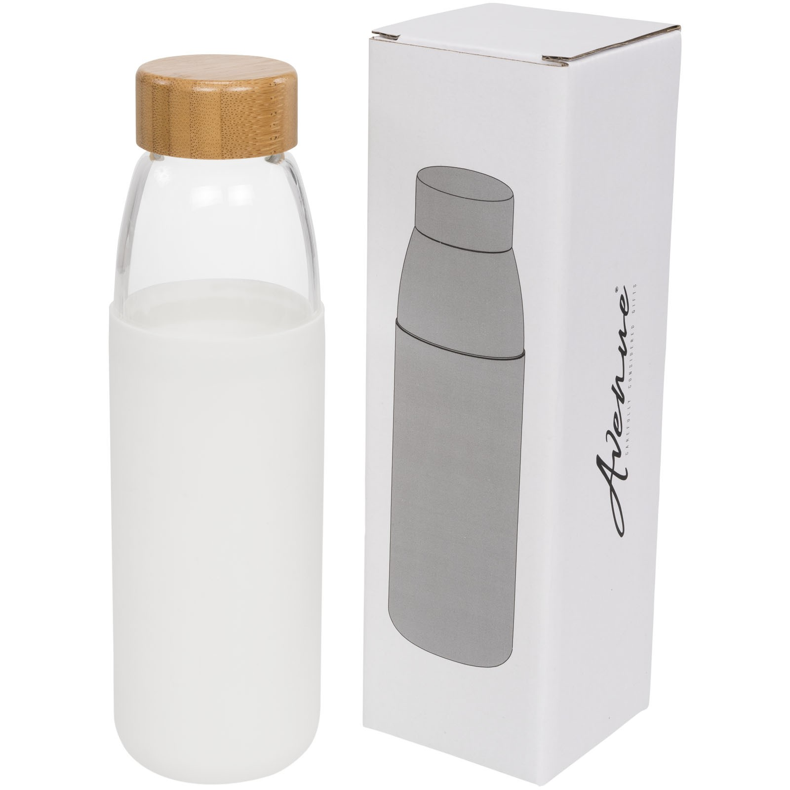 Kai 540 ml glass sport bottle with wood lid - White