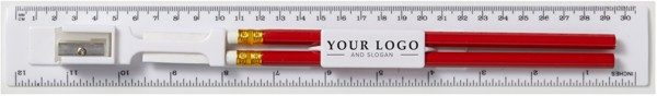 PS ruler with pencil - Blue