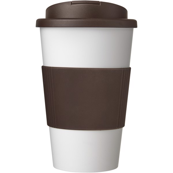 Americano® 350 ml tumbler with grip & spill-proof lid - White / Brown