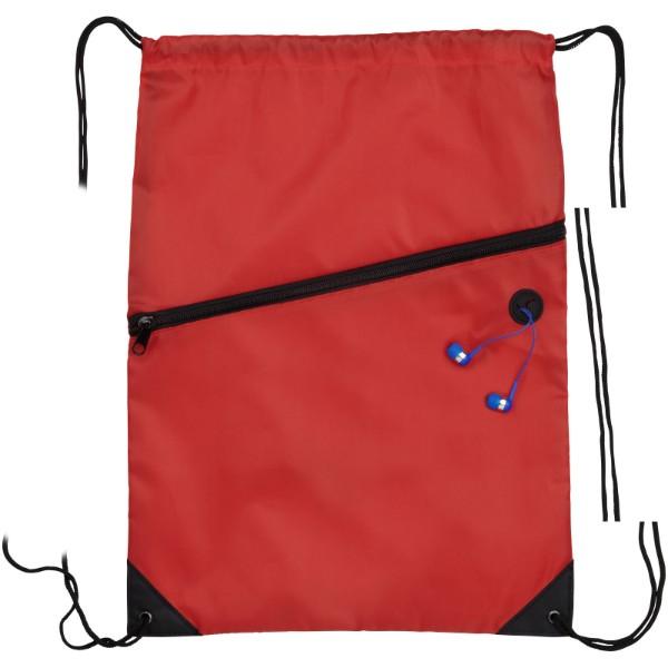 Oriole šňůrkový batoh se zipem - Červená s efektem námrazy