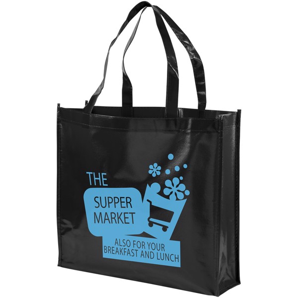Shiny laminated non-woven shopping tote bag - Solid black