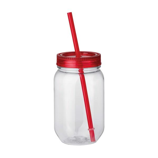 STRAW. Láhev s brčkem 550 ml - Červená