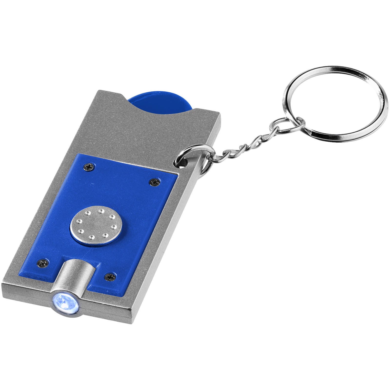 Allegro LED keychain light with coin holder - Royal blue / Silver