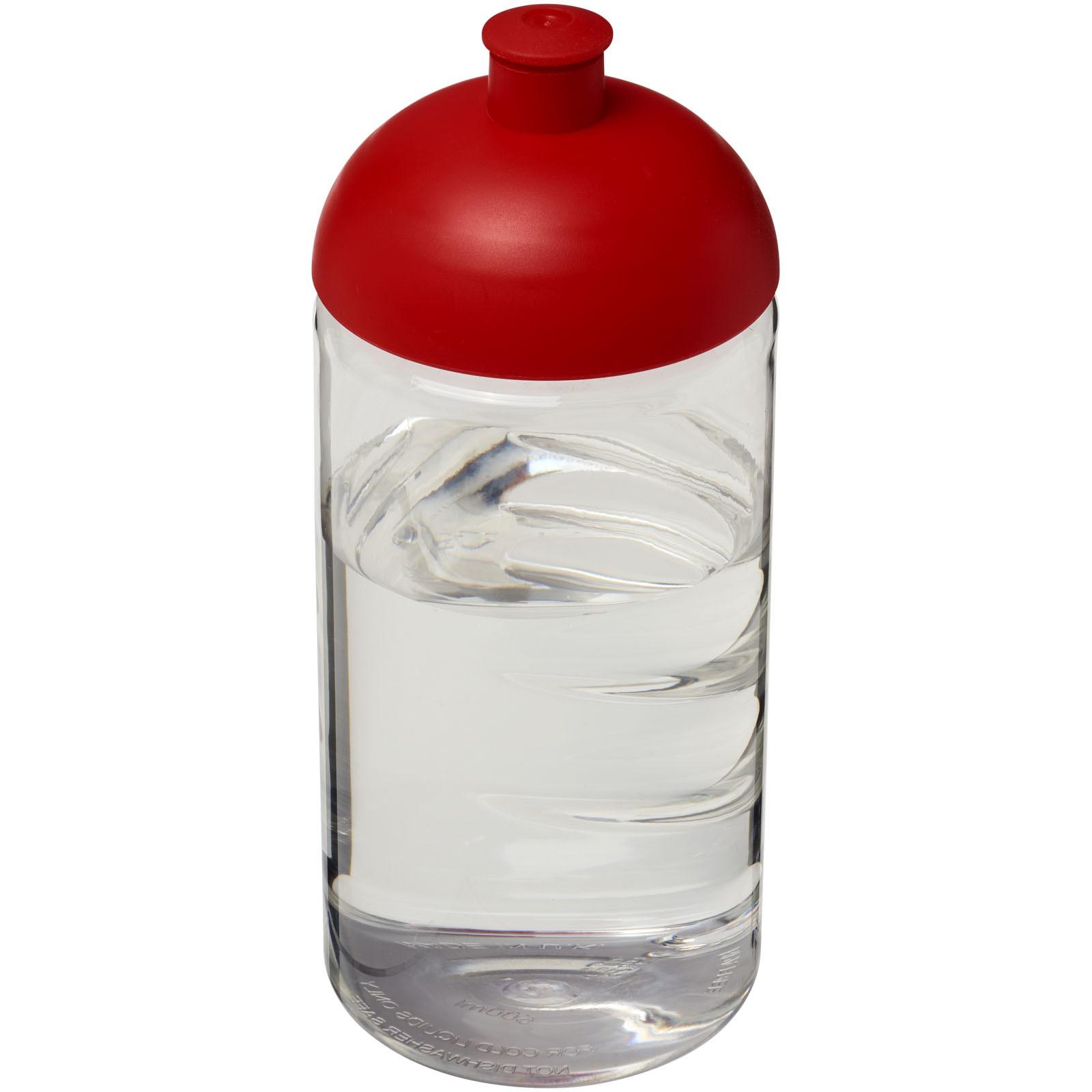 Láhev s kupolovitým víčkem H2O Bop® 500 ml - Průhledná / Červená s efektem námrazy
