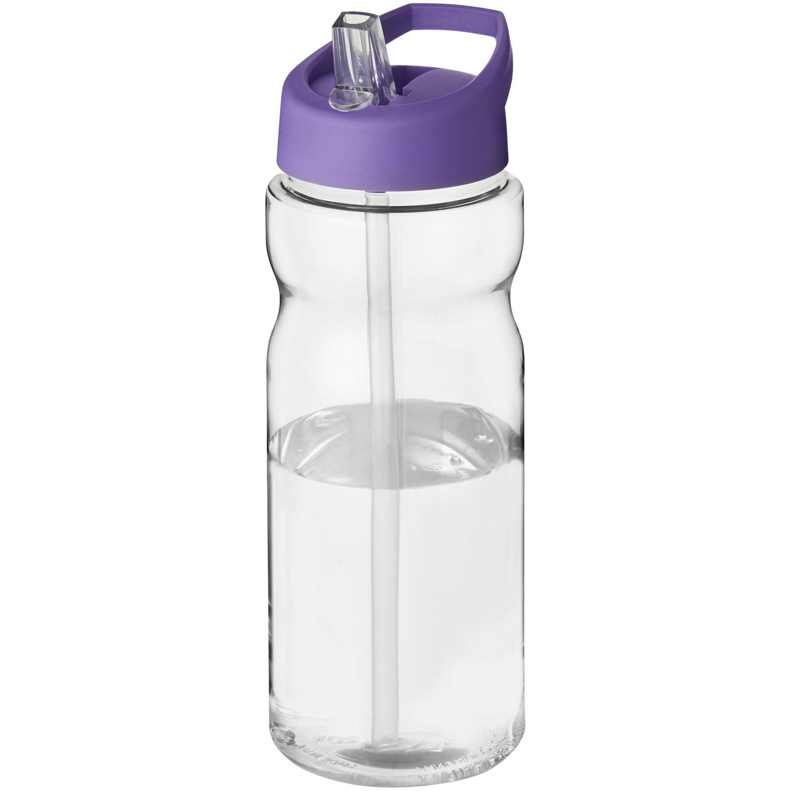 Sportovní láhev s víčkem s hubičkou H2O Base® 650 ml - Průhledná / Purpurová