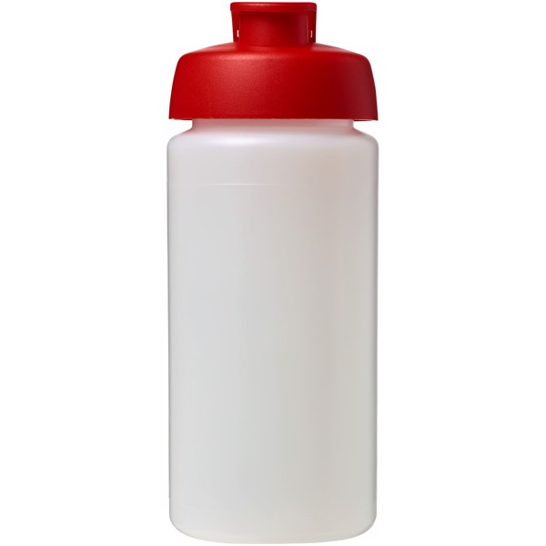 Sportovní láhev s vyklápěcím víčkem Baseline® Plus grip 500 ml - Průhledná / Červená s efektem námrazy