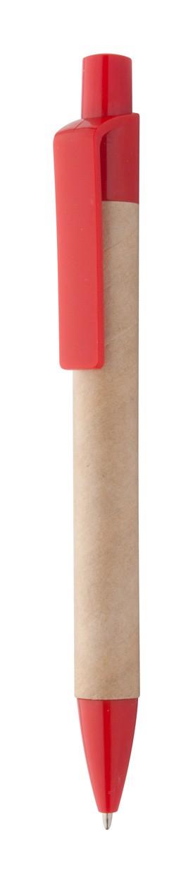 Kuličkové Pero Z Recyklovaného Papíru Reflat - Přírodní / Červená