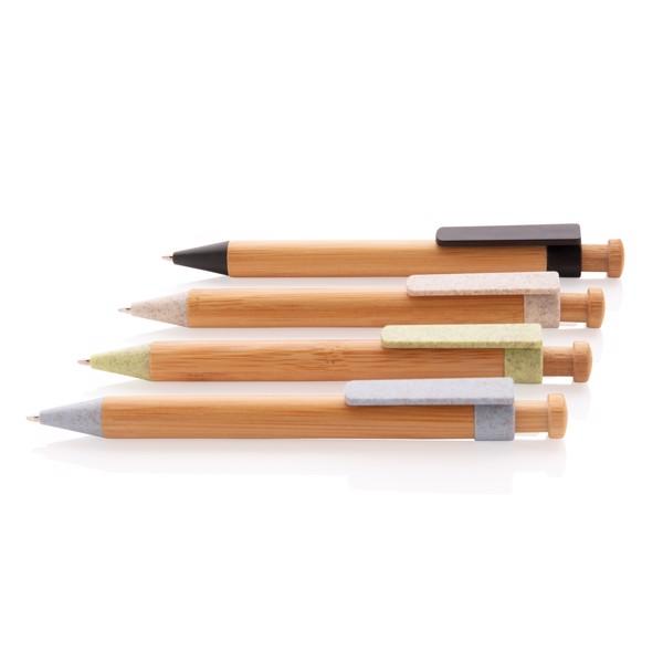 Bamboo pen with wheatstraw clip - White