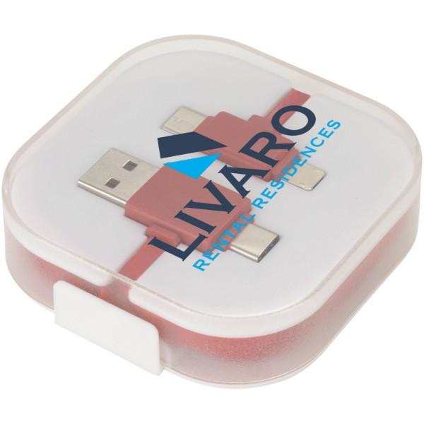 Nabíjecí kabel Colour-Pop s pouzdrem - Červená s efektem námrazy