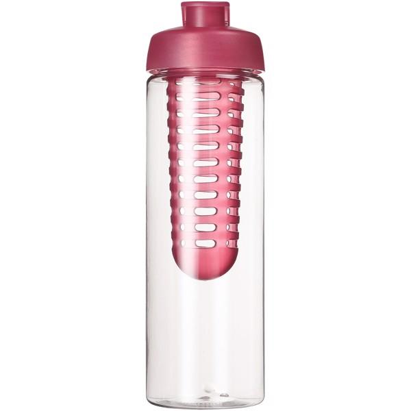 H2O Vibe 850 ml flip lid bottle & infuser - Transparent / Pink
