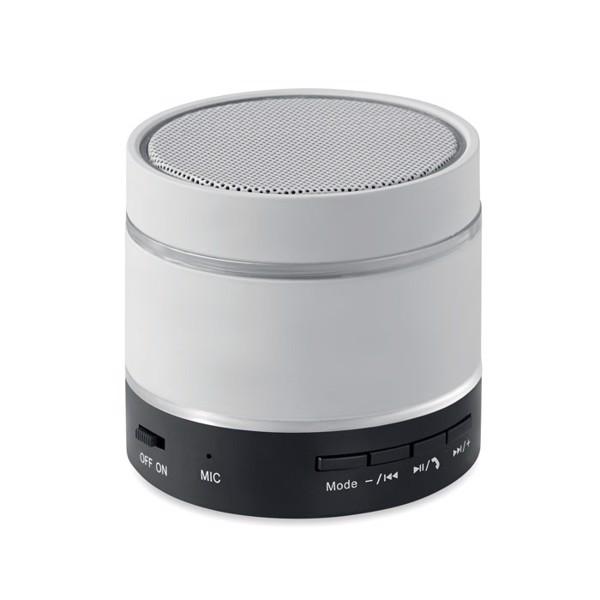 Bluetooth speaker w/ led light Round Light - White