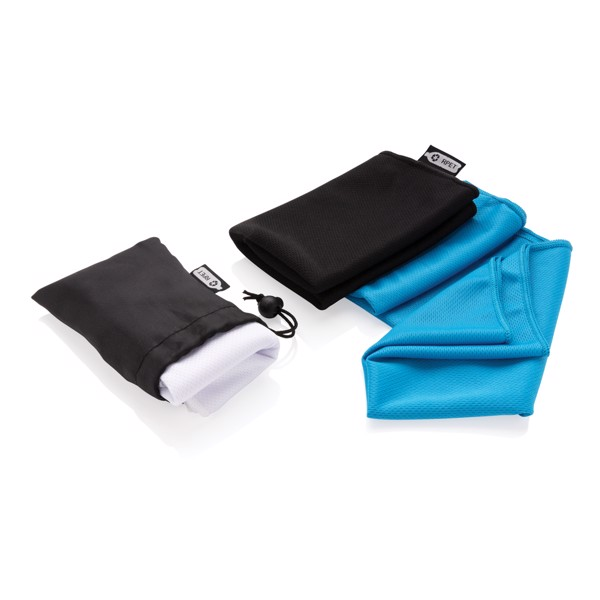 RPET sport towel in pouch - White