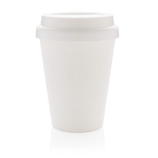 Többször használatos, duplafalú kávésbögre 300 ml - Fehér