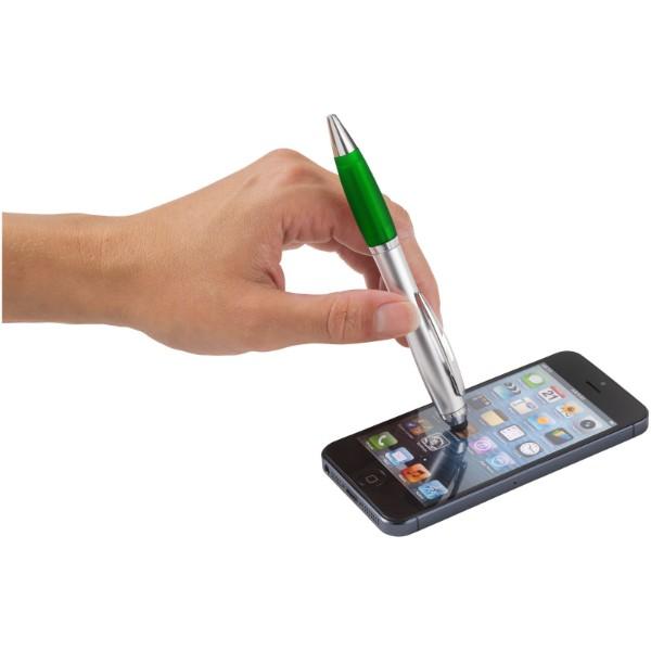 Kuličkové pero a stylus Nash s barevným úchopem - Stříbrný / Zelená