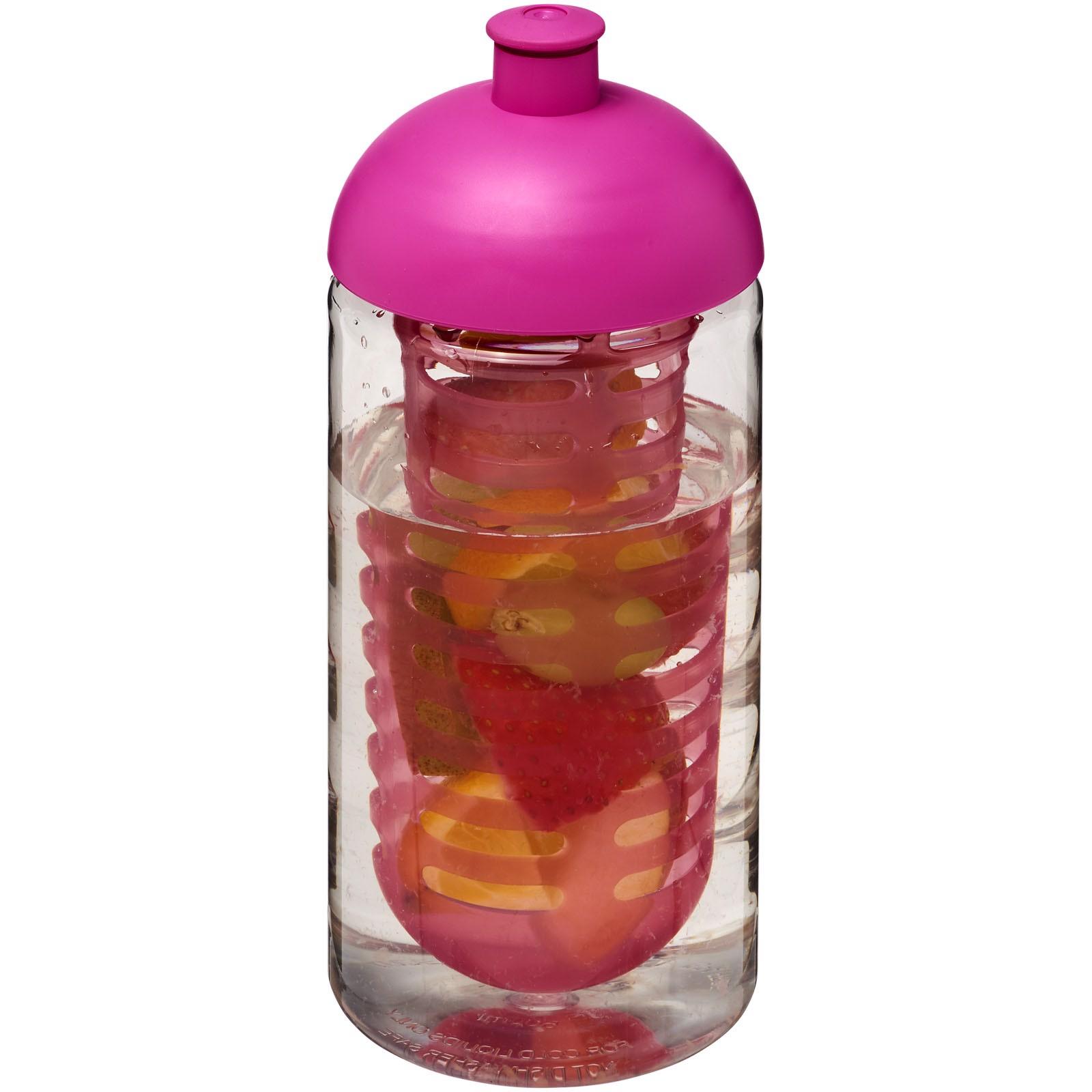 Sportovní láhev s infuzérem a kupolovitýmvíčkem H2O Bop® 500 ml - Transparent / Pink