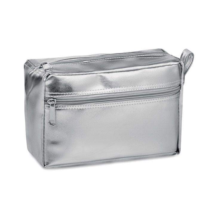 Fényes PVC kozmetikai táska Silene - ezüst