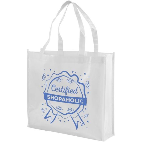 Shiny laminated non-woven shopping tote bag - White