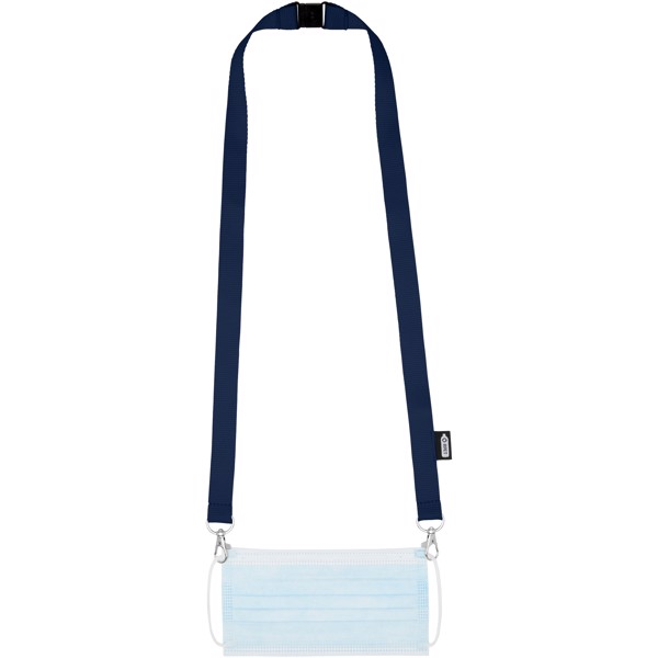 Adam recycled PET lanyard with two hooks - Navy